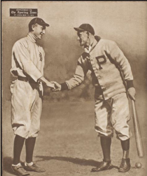 5b6ace970e5f19 The infamous Georgia Peach, Ty Cobb, shaking hands with the Flying  Dutchman, Honus