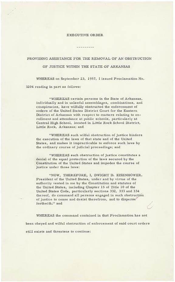Executive Order 10730: Desegregation of Central High School (1957)