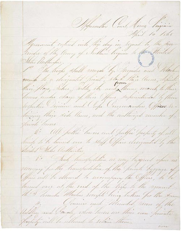 Articles of Agreement Relating to the Surrender of the Army of Northern Virginia