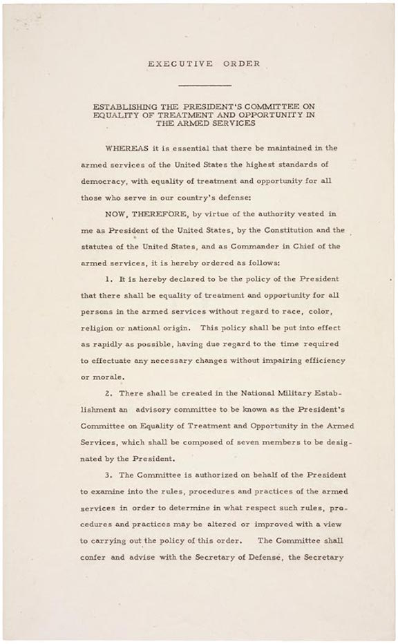 Executive Order 9981: Desegregation of the Armed Forces (1948)