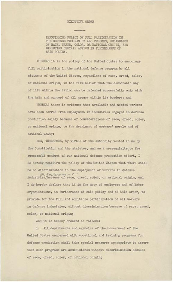Executive Order 8802: Prohibition of Discrimination in the Defense Industry (1941)