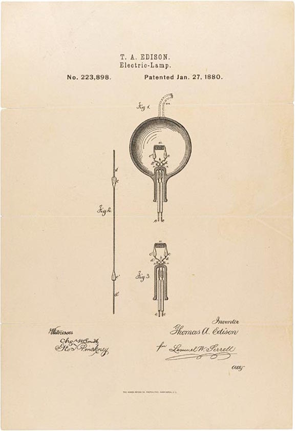 Thomas Edison's Patent Application for the Light Bulb (1880)