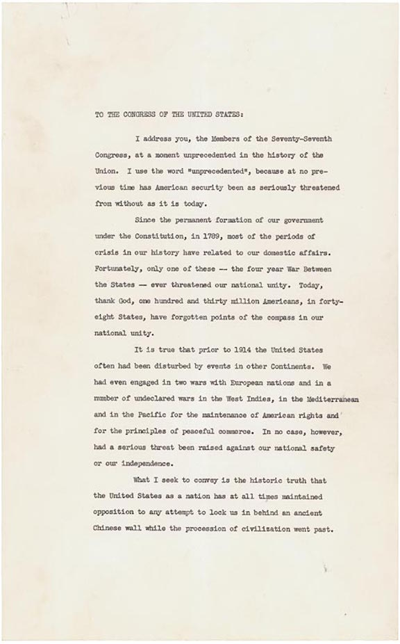 President Franklin Roosevelt's Annual Message (Four Freedoms) to Congress (1941)
