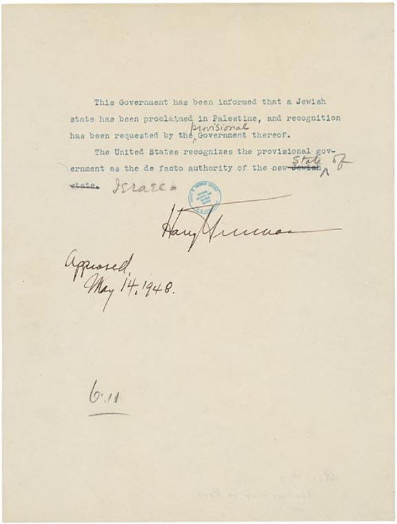 Press Release Announcing U.S. Recognition of Israel (1948)